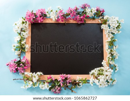 Blackboard with the spring flowers on blue background
