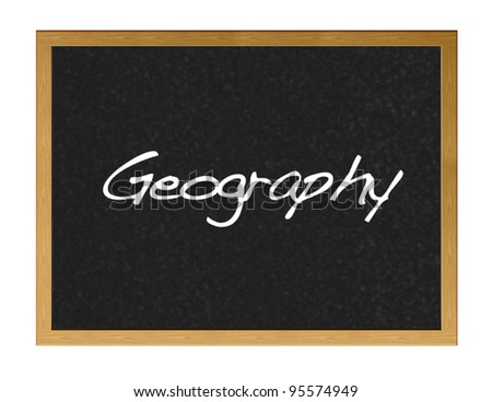 Blackboard  with the word geography.