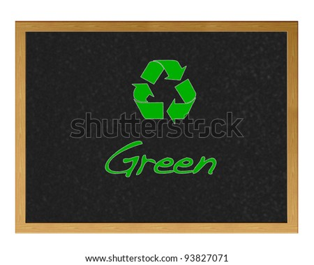 Blackboard with the word Green.