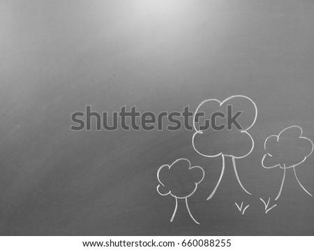 Blackboard with tree drawings #660088255