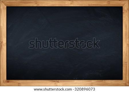 blackboard with wooden bamboo...