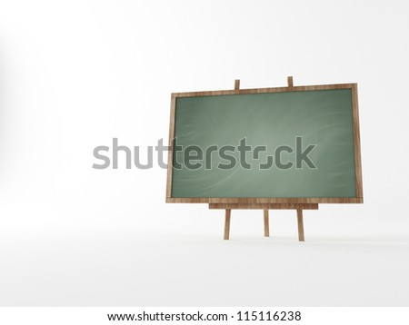 blackboard with wooden on a white background