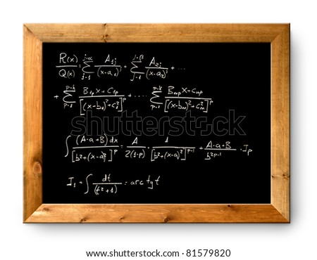 blackboard with written difficult mathematical integral formula