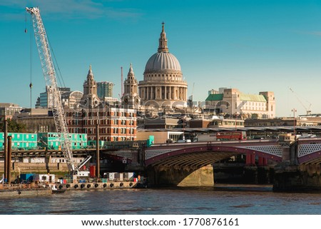 Blackfriars Bridge and St. Paul's Cathedral in London, UK