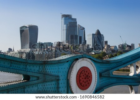 Blackfriars Bridge, London Skyscrapers Skyline and River Thames, London.