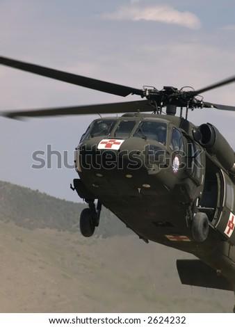 Blackhawk helicopter landing - stock photo
