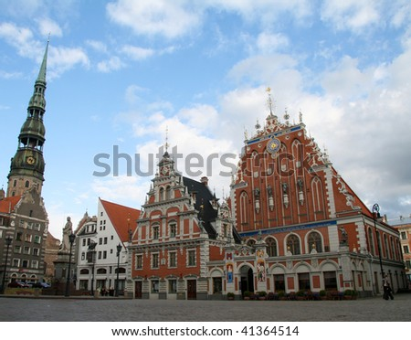 Blackheads house, tower of dome church and old houses in the old center of Riga, capital of Latvia