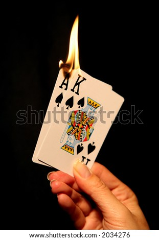 Blackjack a woman with a hot card hand (Focus at bottom of flame)