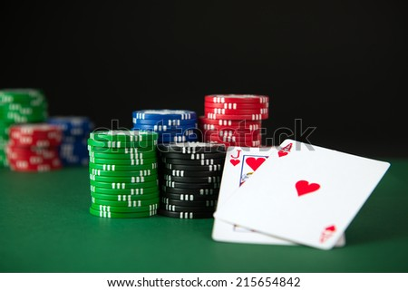 Blackjack and poker chips on the table