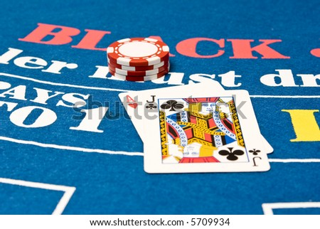 Blackjack hand on a blackjack table