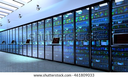 Blackout in server room.Creative business web telecommunication, internet technology connection, cloud computing and networking connectivity concept: terminal monitor in  datacenter. 3d render