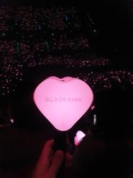 Blackpink cheering lightstick look like heart hammer in Blackpink concert.Bangkok , Thailand