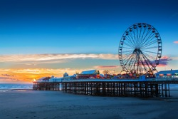 Blackpool Central Pier and Ferris Wheel, Lancashire, UK