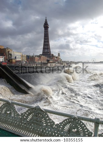 Blackpool promenade and tower in a storm
