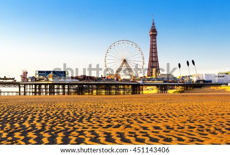 Blackpool Tower and Central Pier Ferris Wheel, Lancashire, England, UK #451143406