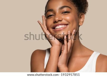 Blackskin beauty woman healthy happy smile clean skin Foto d'archivio ©