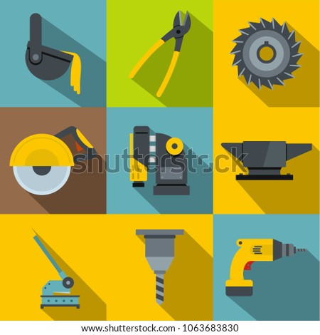 Blacksmith tools icons set. Flat set of 9 blacksmith tools icons for web with long shadow