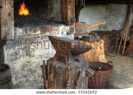 Blacksmiths workshop - stock photo