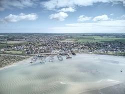 Blackwater Marina, Maylandsea. Near Maldon, Essex, UK.  Aerial views of Marina, sailing clubs and river Blackwater at Mundon Creek