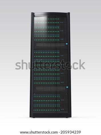 Blade server rack isolated on gray background. Clipping path available.