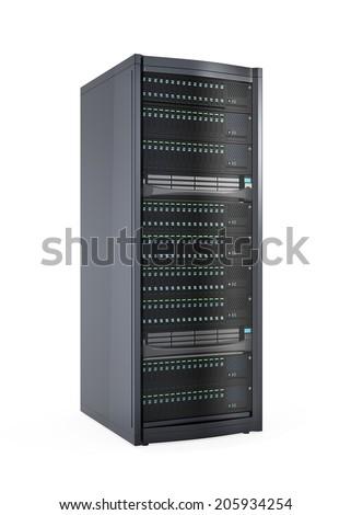 Blade server rack isolated on white background.