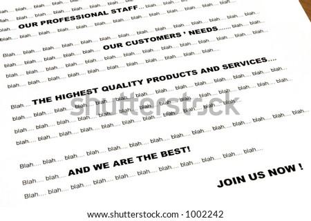 "Blah... blah... marketing letter - standard sentences - between words ""blah blah blah"""