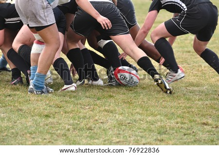 BLAINE, MN - APRIL 30: A scrum in women\'s collegiate rugby match between Army and the North Carolina Tar Heels in the NCAA Division I College Championship quarterfinals on April 30, 2011 in Blaine, MN