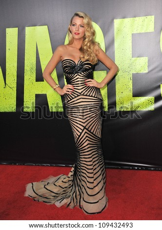 """Blake Lively at the world premiere of her movie """"Savages"""" at Man Village Theatre, Westwood. June 26, 2012  Los Angeles, CA Picture: Paul Smith / Featureflash"""