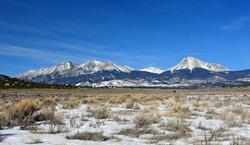 blanca peak and the spectacular sangre de cristo  mountains on a sunny winter day near alamosa, in southeastern colorado