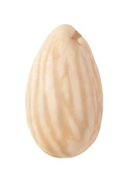 Blanched almond isolated on white background