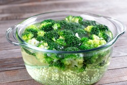 Blanched broccoli. Boiling green broccoli pieces in water.Preparing vegetables concept