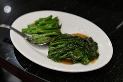 Blanched Chinese Broccoli (Gai Lan, Kai-Lan, Chinese Broccoli, Chinese Kale or Jie Lan), Food in Bangkok, Thailand, Asia