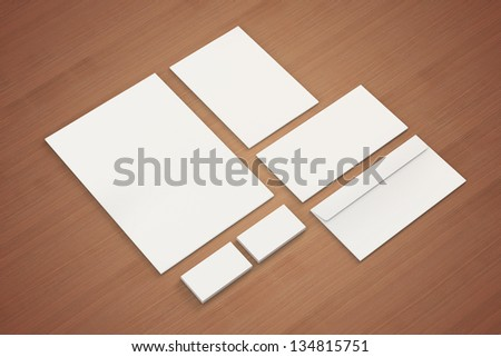 Blank A4 paper Letterhead Business cards Note Envelopes Stationary Corporate identity template on wooden background