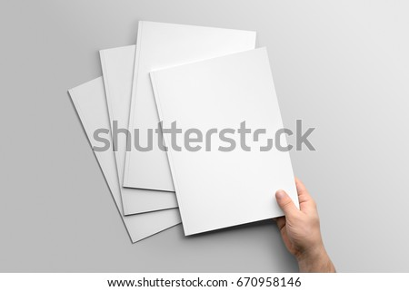 Blank A4 photorealistic brochure mockup on light grey background.  #670958146