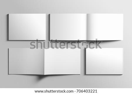 Blank A4 photorealistic landscape brochure mockup on light grey background, 3D illustration.