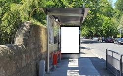 Blank ad template on a sunny bus stop, Ailsbury Rd., Dublin.