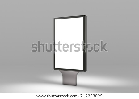 Blank advertisement banner lightbox on gray background. Isolated with clipping path around billboard stand. 3d illustration