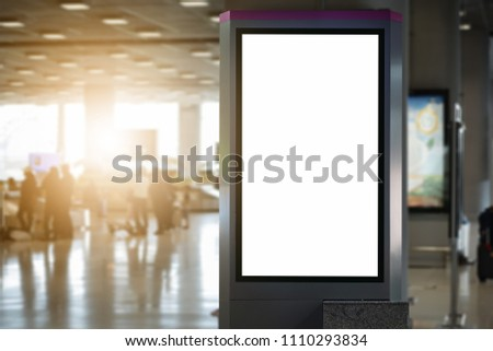 blank advertising billboard at airport,Mock up Poster media template Ads display in Subway station escalator #1110293834