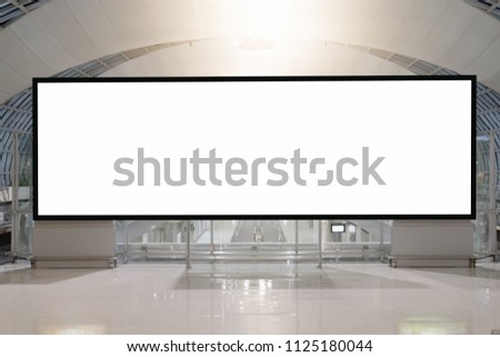 blank advertising billboard at airport,Mock up Poster media template Ads display in Subway station escalator #1125180044