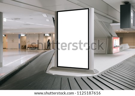 blank advertising billboard at airport,Mock up Poster media template Ads display in Subway station escalator #1125187616