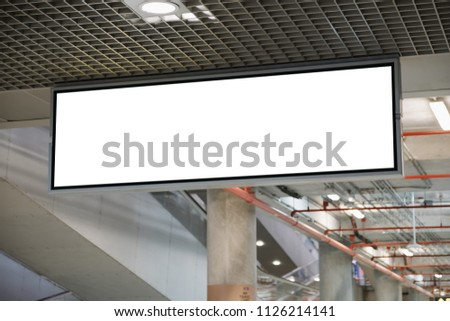 blank advertising billboard at airport,Mock up Poster media template Ads display in Subway station escalator #1126214141