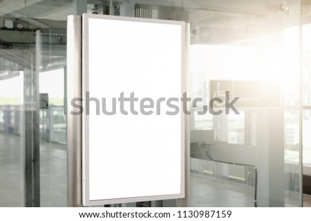 blank advertising billboard at airport,Mock up Poster media template Ads display in Subway station escalator #1130987159