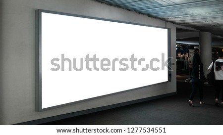 blank advertising billboard at airport,Mock up Poster media template Ads display in Subway station escalator #1277534551