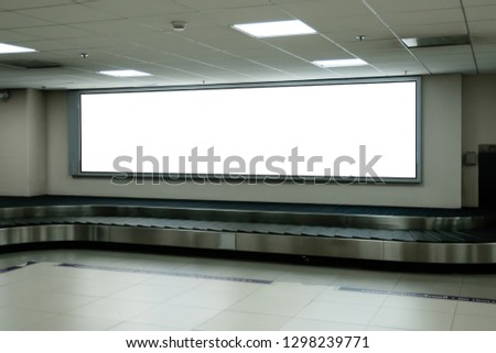 blank advertising billboard at airport,Mock up Poster media template Ads display in Subway station escalator #1298239771