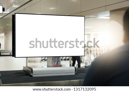 blank advertising billboard at airport,Mock up Poster media template Ads display in Subway station escalator #1317132095