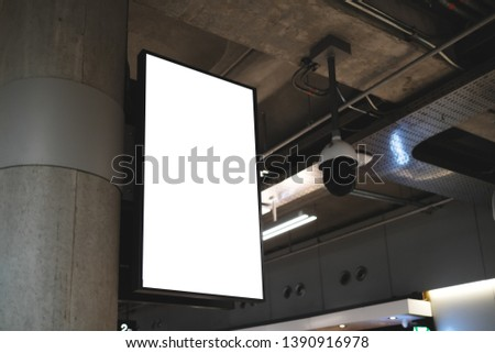 blank advertising billboard at airport,Mock up Poster media template Ads display in Subway station escalator #1390916978