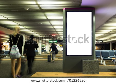 blank advertising billboard at airport,Mock up Poster media template Ads display in Subway station escalator #701226820