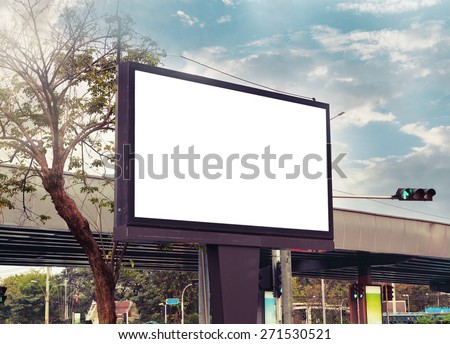 blank advertising billboard at road , vintage color