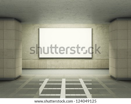 Blank advertising billboard in underground tunnel