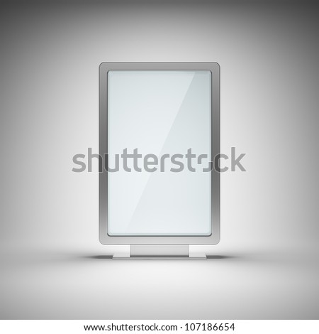 Blank advertising billboard on gray background - stock photo
